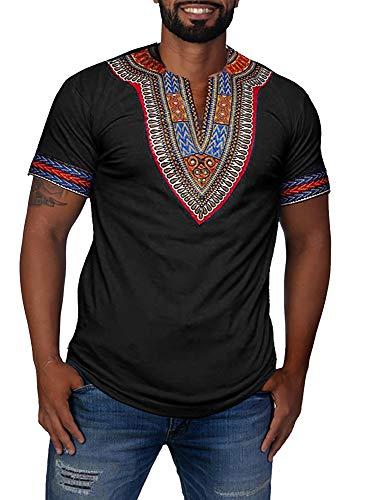 Gtealife Men's African Print Dashiki T-Shirt Tops Blouse (Z-Black, XXXL)