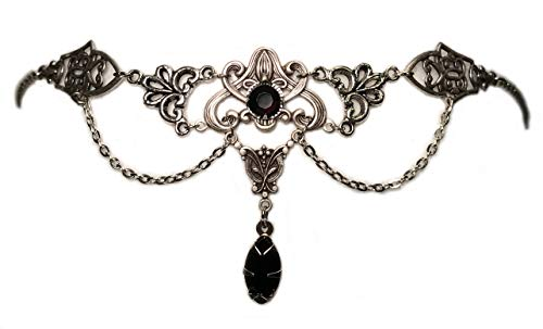 Art Nouveau Filigree Headpiece w/ Black Stones -