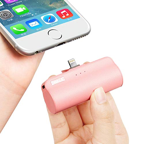 iWALK Mini Portable Charger with Built in Plug, 3300mAh Ultra-Compact Power Bank External Battery Pack Charger Compatible with iPhone 5 6 7 8 Plus X SE XS, -
