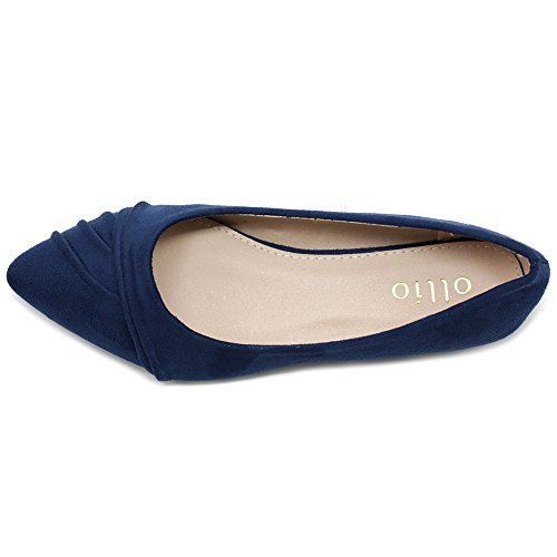 Ballet Suede Toe Dress su Pleated Women's Shoe Ollio Navy Faux Pointed Flat EqX7fx