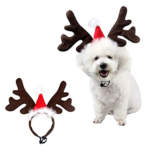 Stock Show Pet Xmas Costume Dog Reindeer Antlers Headband Pet Deer Horn Hat Costume Dog Puppy Cat Xmas Santa Red Hat Pet Christmas Festival Party Costume Apparel Accessory Photo Props]()