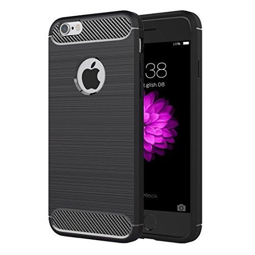 Phone Taschen & Schalen Für iPhone 6 Plus & 6s Plus Brushed Texture Fiber TPU Rugged Armor Schutzhülle ( Color : Black )