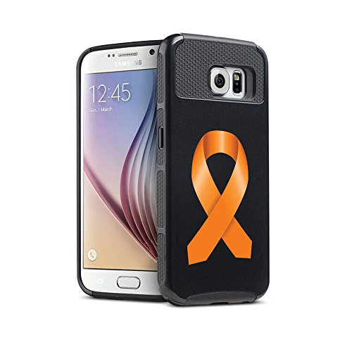 For Samsung Galaxy S7 Shockproof Impact Hard Soft Case Cover Leukemia Cancer Multiple Sclerosis Kidney Cancer Color Awareness Ribbon (Black)
