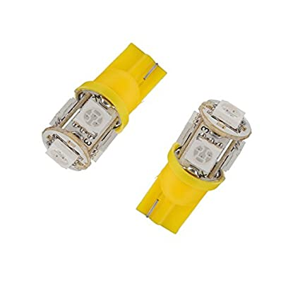 TMT LEDS(TM) 2 X BOMBILLAS LED T10 W5W 5 LEDS SMD 5050 AMARILLO