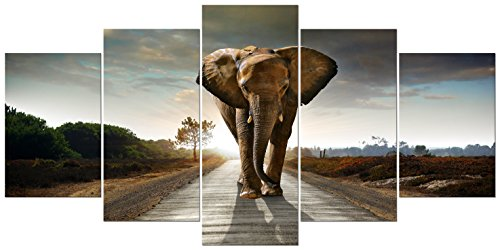 Animals Canvas (Wieco Art - Elephant Extra Large 5 Panels Modern Stretched and Framed Giclee Canvas Prints Animals Landscape Artwork Grey Pictures Paintings on Canvas Wall Art for Living Room Home Decorations XL)