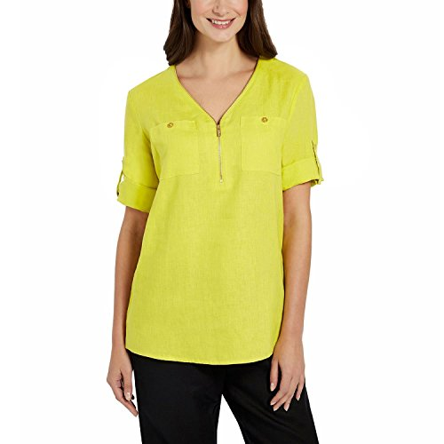 Ellen Tracy Ladies' Roll Tab Linen Tunic (Assorted Colors) (Medium, Limeade)