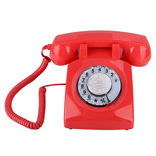 Beiwnner Retro Dial Telephone, Vintage Landline Telephone Corded Telephone, Corded Desktop Desk Phone for Gift with Knob/Adjustable Volume of The Bell(Red) from Bewinner