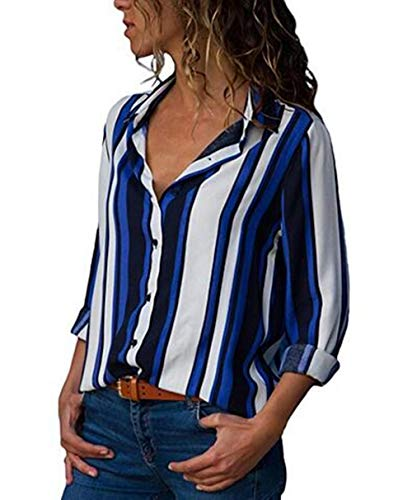 (Womens Tailored Casual Blouses Tops Striped Shirts Long Sleeve V Neck Button Down Collar (Striped 1#, US XXL))