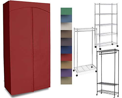 ClarUSA Premium Canvas/Duck Cover 18x36x68 fits an Existing Garment/Shelf Unit (not Included) Red