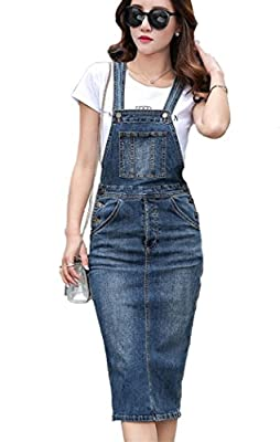 Sherri Women's 2 Pieces Elegant Shoulder Straps Denim Overall Dress + Tee