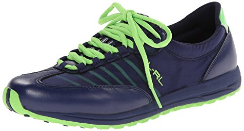 Lauren Ralph Lauren Womens Falon Fashion Sneaker Moderno Navy / Lime Pearl Net / Cotton Mesh