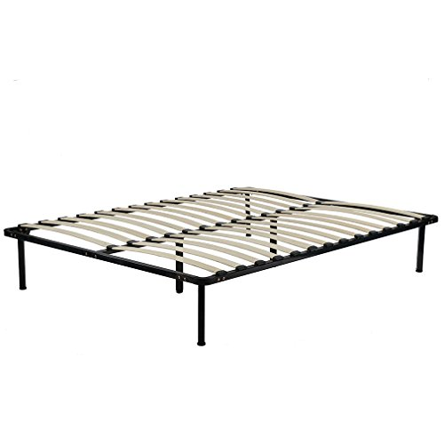 BestMassage Wooden Slat Metal Bed Frame Wood Platform Bedroom Mattress Foundation Queen Size by BestMassage