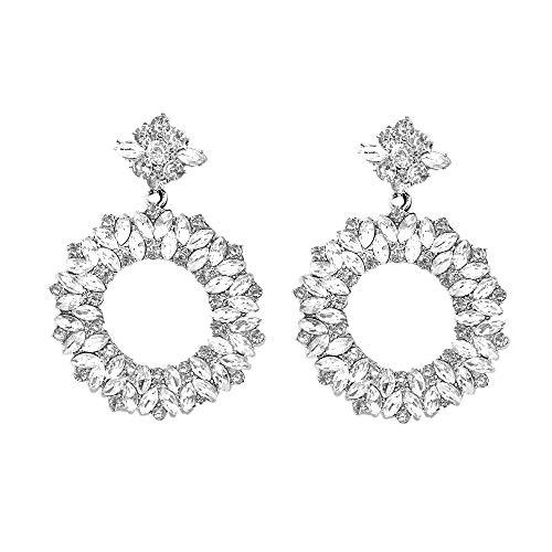 Cubic Zirconia Fashion Ring Drop Dangle Earring (White) ()