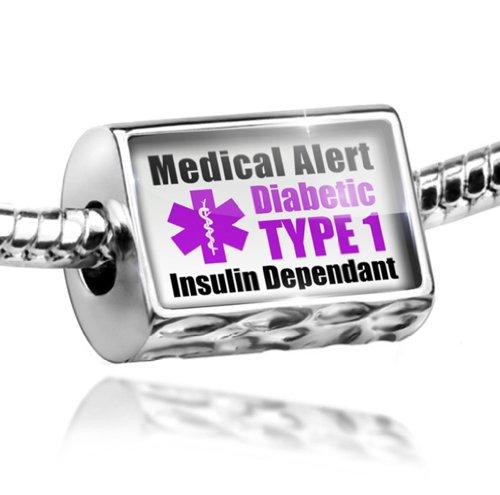 Charm Medical Alert Purple Diabetic Insulin Dependant TYPE 1 - Bead Fit All Eur