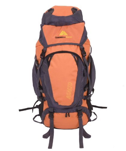 Guerrilla Packs – 70l Internal Frame Fully Adjustable Hiking Travel Backpack – Orange and Gray Backpack, Outdoor Stuffs