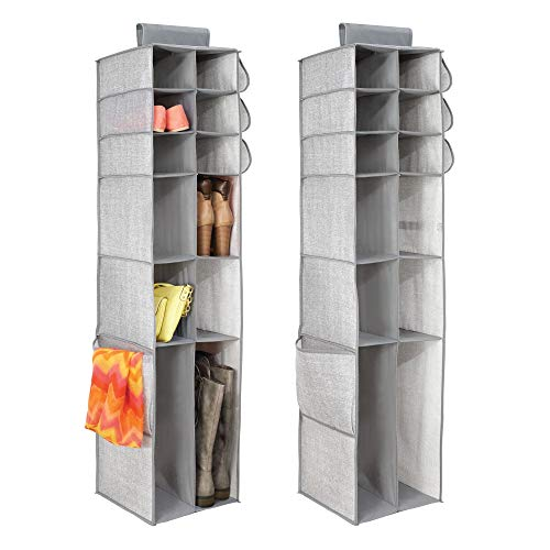 mDesign Fabric Hanging Closet Storage Organizer, for Shoes, Boots, Handbags, Clutches - Pack of 2, 16 Compartments Each, Gray ()