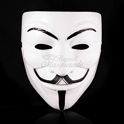 New Exclusive All Black & White V for Vendetta Mask / Anonymous / Guy Fawkes Mask Mask Party Cosplay (White)
