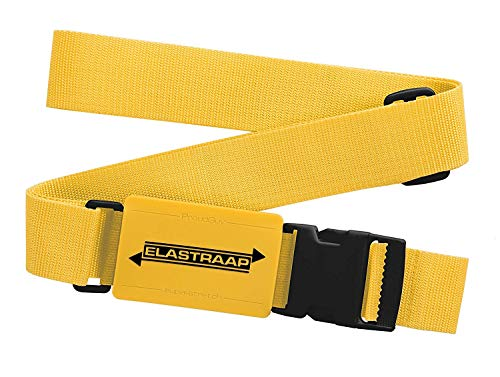 Luggage Straps, Adjustable Non-Slip Baggage Belts - Suitcase Bands for your Travel Bag (1 Item/Yellow)