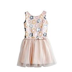 Sweet Kids Girls Floral Sequin Drop Waist Flower Girl Party Dress