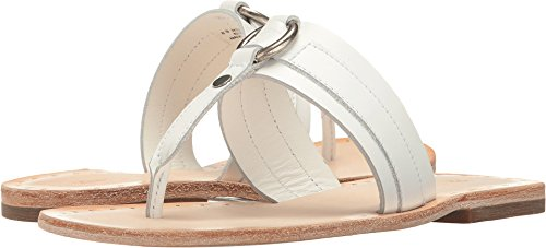 Frye Leather Thongs - FRYE Women's Avery Harness Thong Flat Sandal, White, 8 M US