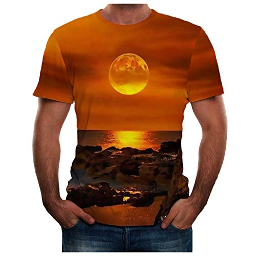 TOPUNDER Men Summer New Full 3D Printed T Shirt Plus Size S-3XL Cool Printing Top Blouse Yellow -