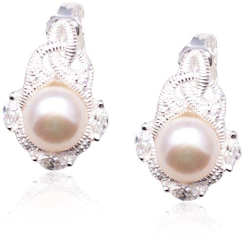 Boucles d'oreilles pendantes - Femme - Argent 925/1000 5.6 Gr - Oxyde de Zirconium - Perle de Synthèse