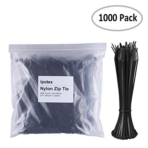 Nylon Zip Ties (Pack of 1000pcs) 8 inch with Self Locking Cable Ties (Black) by ipolex by ipolex