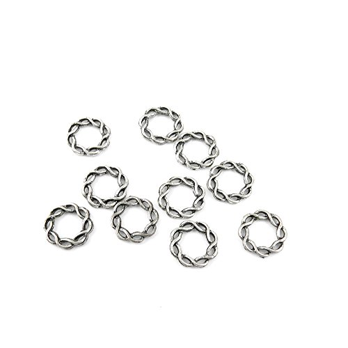 (750 Pieces Jewelry Making Charms MVGX05 Twisted Circle Pendant Ancient Silver Findings Craft Supplies Bulk Lots)