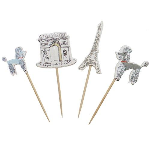 Buorsa 48 Pcs Paris Romance Themes Cake Picks Baby Shower Cupcake Toppers Paris Landmarks and Poodles -