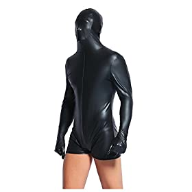 - 41qR 2Bf40tuL - Men's Wetlook Vinyl Playsuit Faux Leather Hood Zentai Catsuit Wirh Hood Hat Suit