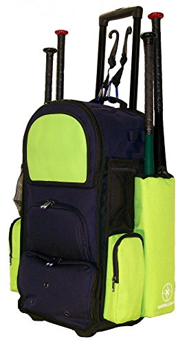 New Design Vista CTR in Navy Blue and Lime Green Softball Baseball Bat Equipment Roller Backpack with Innovative Removable Bat Sleeves, Embroidery Patch and Pull out Handle by MAXOPS