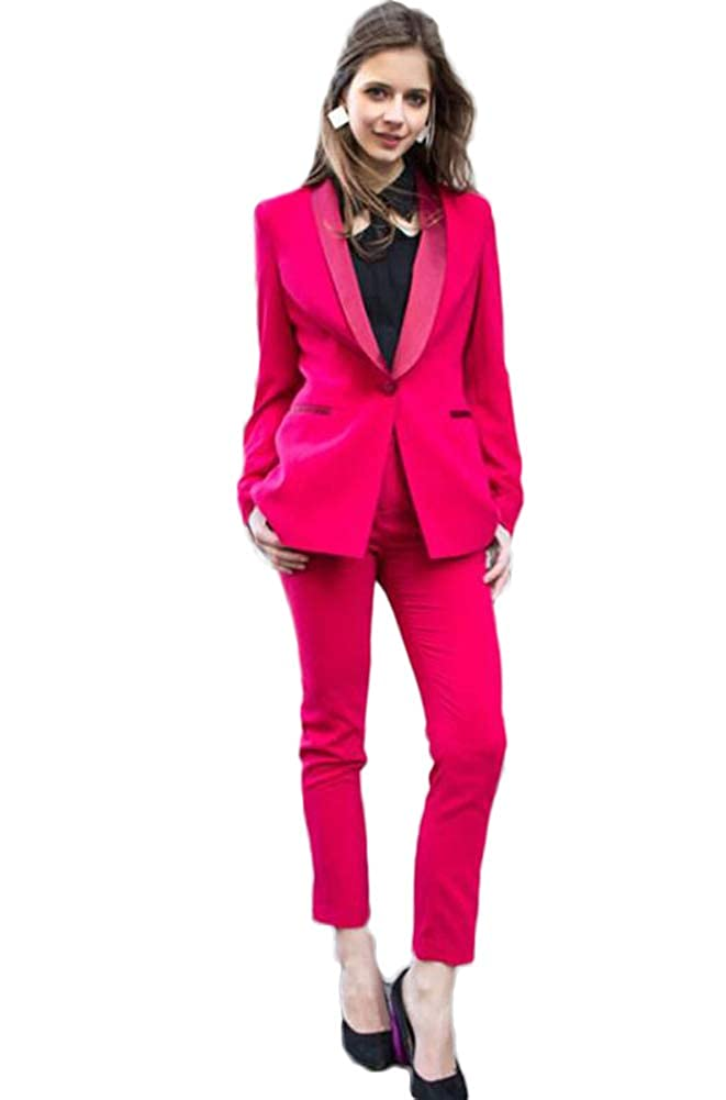Hot Pink AK Beauty Shawl Lapel Womens Hot Pink Slim Fit Business 2 Pieces Suit Wedding Suit Women Party Suit
