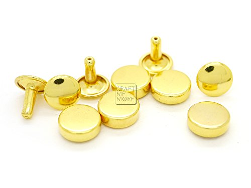 (CRAFTMEmore 100 Sets 8MM 10MM 12MM GOLD Flat Head Tablet Double Cap Rivets Studs Leathercraft Decorative Rivet - Quality Plating (10 mm (3/8 Inch), VT) )