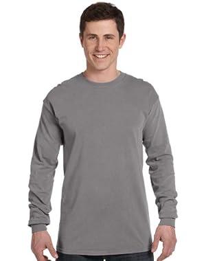 Ringspun Garment-Dyed Long-Sleeve T-Shirt (C6014)- GREY, M