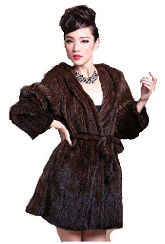 Mink Fur - YR Lover Women's Long Real Mink Fur Hooded Coat with Belt