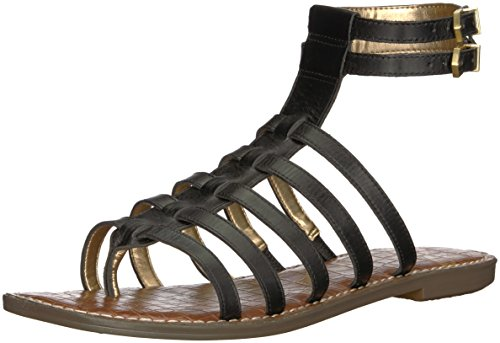 (Sam Edelman Women's Gilda Flat Sandal, Black Leather, 6 M US)
