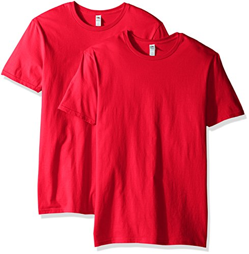 Fruit of the Loom Men's Crew T-Shirt (2 Pack), Fiery Red, XX-Large