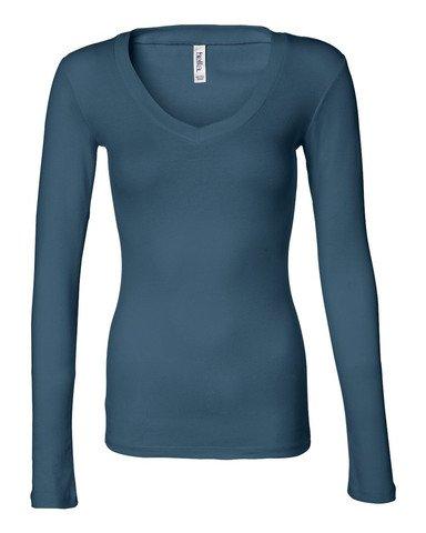 Bella 8750 Womens Sheer Mini Rib Long Sleeve V-Neck Tee - Deep Teal, Small