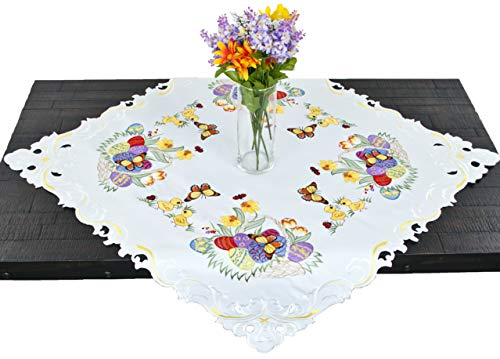 Linens, Art and Things Ivory Embroidered Colorful Easter Colorful Butterfly Easter Egg Table Topper, Dresser Scarf, Small Tablecloth 33 Inch Square