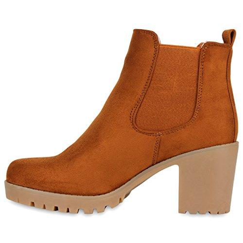 Stiefelparadies Damen Stiefeletten Chelsea Boots mit Blockabsatz Profilsohle Flandell Hellbraun Khaki