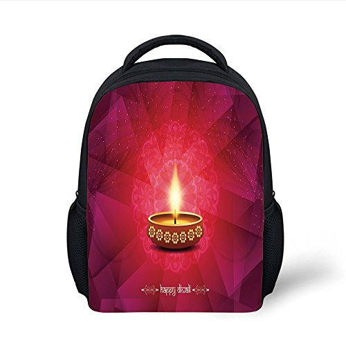 iPrint Kids School Backpack Diwali,Paisley Background Image with Diwali Themed Religious Festive Celebration Tribal Print,Pink Plain Bookbag Travel Daypack by iPrint