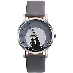 Leaftree - Conciso Mujer Señora Gato Correa de Cuero Reloj de Cuarzo Joyería Casual Reloj de Pulsera Regalo