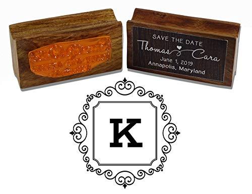 - Printtoo Square Swirl Border Alphabet K Monogram Wood Mounted Rubber Stamp Office Stationary