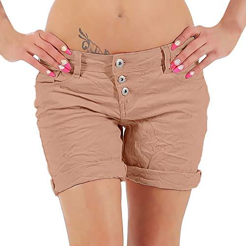 JOFOW Bermuda Shorts Womens Denim Solid Distressed Summer Short Jeans Low Waist Hot Thigh Length Loose Slim Comfy Midi Pants (XL,Pink) ()