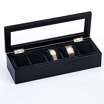 Qilt Cuadro de relojes Relojes de madera real Recuadro 5 pack techo pantalla relojes joyeros cajas de almacenamiento de cadena de mano marrón, ...