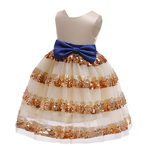(❤️ Mealeaf ❤️ Floral Baby Girls Princess Bridesmaid Pageant Gown Birthday Party Wedding Dress(Yellow,140))