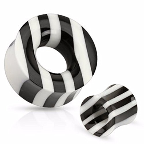 Black and White Striped Organic Horn and Bone WildKlass Saddle Fit Tunnel (Sold as a Pair) ()
