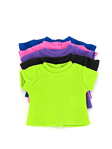 T-Shirts Set 5 Different Vibrant Colors | Fits 18 American Girl Dolls, Madame Alexander, Our Generation, etc. | 18 Inch Doll Clothes