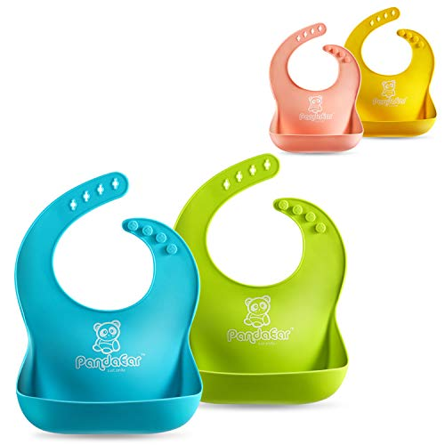 - PandaEar Set of 2 Cute Silicone Baby Bibs for Babies & Toddlers (10-72 Months) Waterproof, Soft, Unisex, Non Messy - Turquoise/Lime Green