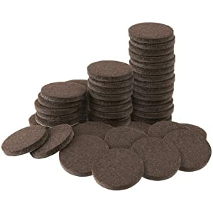 """Self-Stick 1"""" Furniture Felt Pads Value Pack for Hard Surfaces (48 piece) - Brown, Round"""